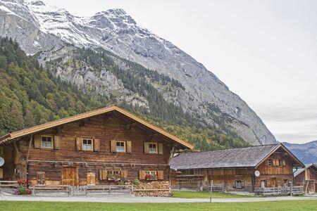Hut idyll in Eng in Tirol Stock Photo