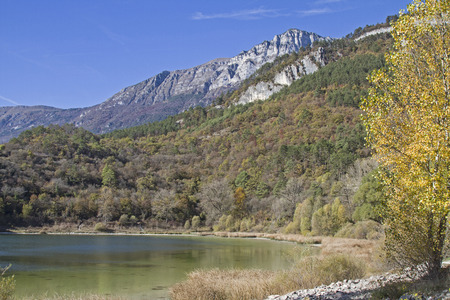 trentino: Terlago Lake - idyllic small mountain lake situated in the province of Trentino