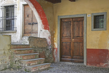 orta: Detail in an alley of the small Italian town of Orta Stock Photo