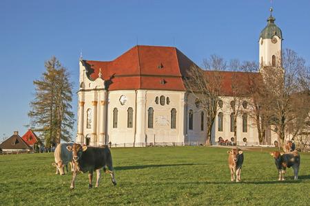 Wies Church - Rococo jewel and tourist attraction in southern Pfaffenwinkel in Upper Bavaria Stock Photo