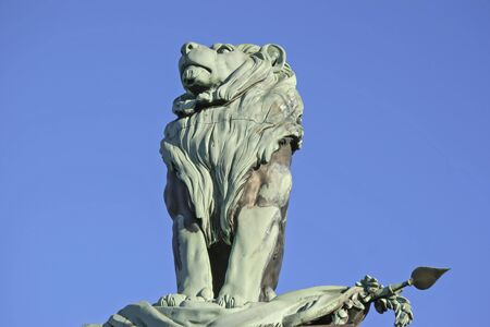 castings: Bavarian Lion in Waakirchen - emblem of Bavaria Stock Photo