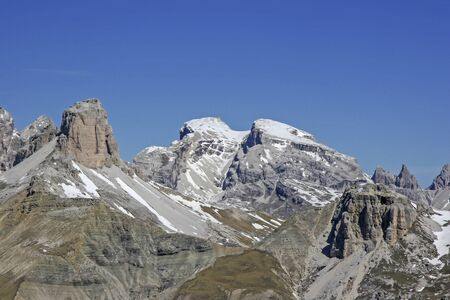 View from the Patern saddle to the north of the Sesto Dolomites Stock Photo