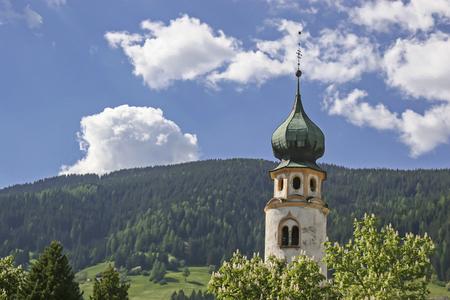 Church tower in Toblach in South Tyrol Stock Photo