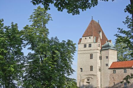 castle district: Trausnitz Castle - Castle of the Dukes of Wittelsbach rises above the medieval town of Landshut Stock Photo
