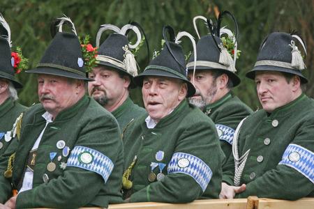 pilgrim costume: Leonhardi pilgrimage in Bad Toelz - carriage with men in costume Editorial