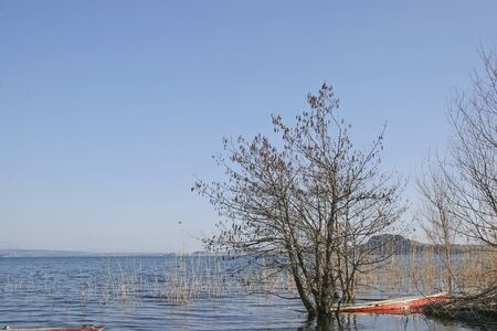 toskana: Sunken rowing boat at Lake Bolsena in Central Italy Stock Photo