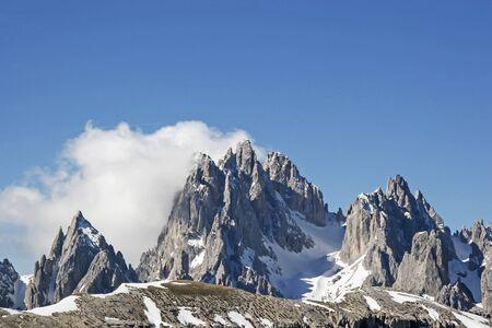 rockclimbing:  Gruppo dei Cadine - rugged mountain peak close to the world famous Three Peaks