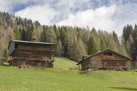 Farm at Sauris - the construction is characterized by peculiar wooden houses and houses with typical balconies