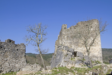 Castle of the Petrapilosa in Istria - solitary ruins of a mighty fortress