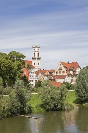 View from the Stone Bridge - St. Mang in the district Stadtamhof Stock Photo
