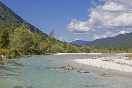The untamed river course of the Isar at Vorderriss in Upper Bavaria Banco de Imagens