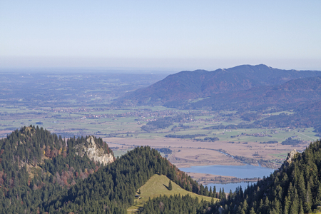 View from Rauheck in the Bavarian Alps to the lake-rich Upper Bavarian foothills of the Alps Stock Photo