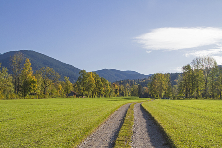 A sunny morning in autumn in the Isarwinkel between Bad Toelz and Lenggries