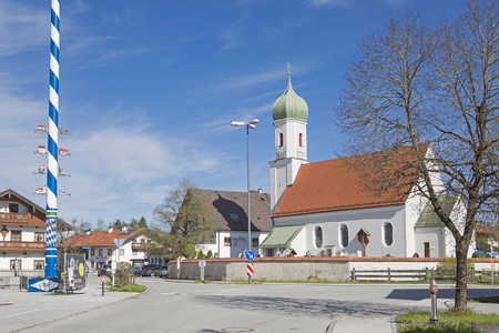 Church of St. Martin and the inn to the Post in Egling a small village in Upper Bavaria Editöryel