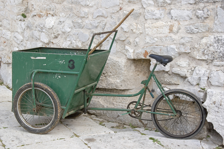 Street cleaning with its primitive and original vehicles keeps the streets of the Croatian city of Zadar clean Banco de Imagens