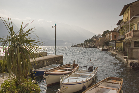 In the old port in the idyllic Lake Garda town of Limone in Lombardy