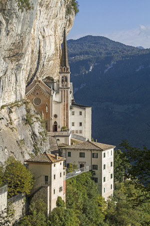 Madonna della Corona - the famous place of pilgrimage was built like an eagles nest in an overhanging rock wall