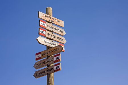 The well signposted hiking trail network in the Dolomites enriches the holidays of many mountaineers and hikers Stock Photo