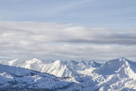 View from Rosskopf - Schafreuter and Karwendel mountains in winter Standard-Bild - 97558970