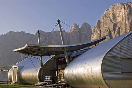 On the east-facing driveway to the Gardena Pass, you will pass this futuristic mountain railway station, where hikers and skiers will be transported to the heart of the Sella mountain range Editorial