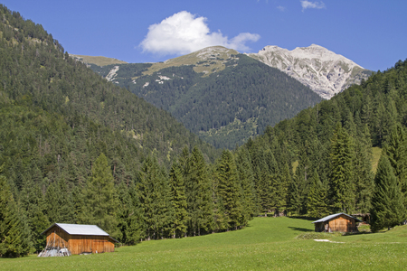 Hay hut amidst a flowered meadow with mountain peaks 0f Karwendel at Mittenwald