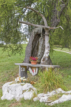 Lovingly designed place of piety - altar and possibility of prayer in the high mountains