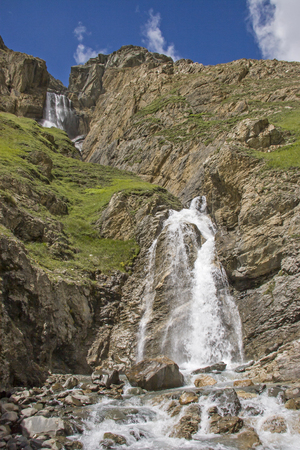 Powerful waterfalls plummet in the Gran Paradiso area from the glacier-covered peaks of up to 4,000 meters