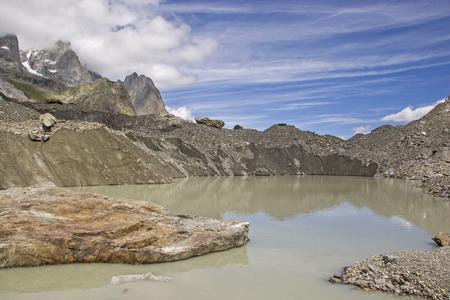 Lago del Miage - Glacier lake in the grandiose Val Veny on Monte Bianco