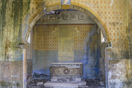 The interior of a dilapidated church in a deserted and uninhabited village in Istria Stock Photo