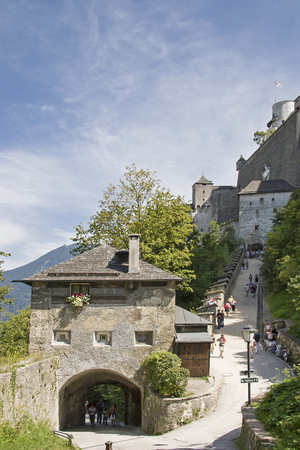 Castle gate guards the stairway to the Hohensalzburg Fortress in Austria