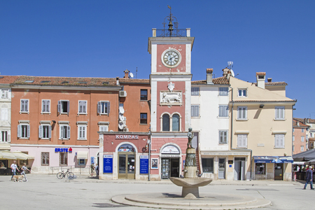 Town square of Rovinj with its famous red clock tower