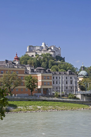 The Hohensalzburg Fortress on a hill high above the historic center of the city of Salzburg