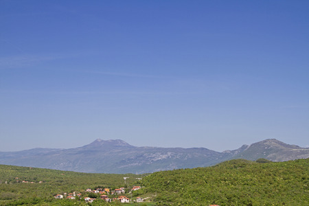View from the city wall in Labin on the Ucka mountain with the Vojak, the highest mountain of Istria