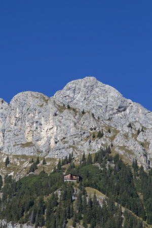 The Gimpel house is a mountain hut in the Tannheimer valley in Tyrol and starting point for mountain tours on Gimpel and Gehrenspitze