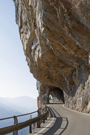 The mountain road between Vezzano and Ranzo north of Sarche was boldly created by an exposed rock face