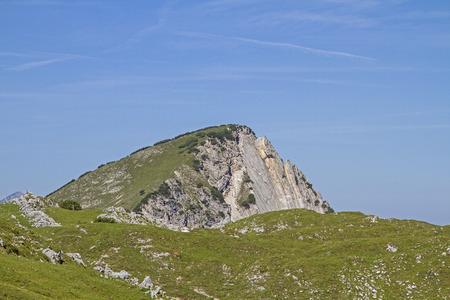 Blick auf den Gipfel des Kompars im Karwendelgebirge