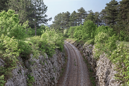 Deep view of a Slovenian railway line through lonely karst mountains
