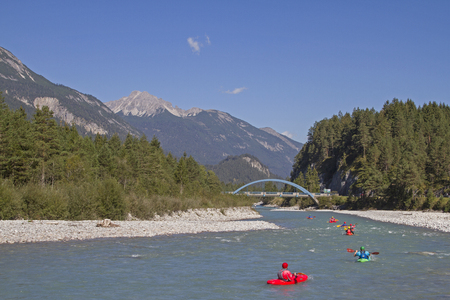 Whitewater rafting on the Lech is a must for every avid kayaker Archivio Fotografico - 115273541