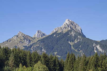The Gehrenspitze, which belongs to the Tannheim mountains dominates Reutte am Lech