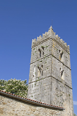 The belfry of the Church of the Assumption in Hum in Istria 스톡 콘텐츠