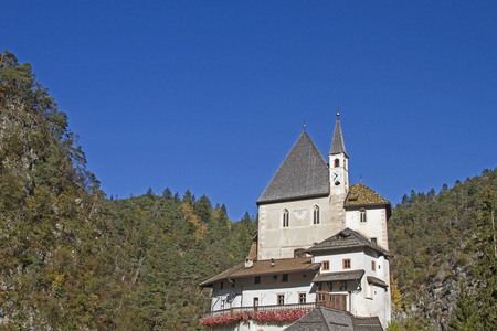 The small monastery of San Romedio is located in a secluded valley on a narrow cliff in the Val di Non