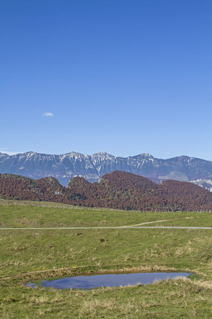 The landscape of the nature park Lessini mountains is dominated by meadows, forests, many mountain huts and idyllic lakes