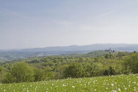 Auf diesem Bergrücken in Istrien verläuft die Grenze zwischen Kroatien und Slowenien Standard-Bild