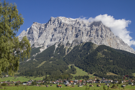 Ehrwald is the main town of the popular holiday area Zugspitzarena and is located in front of the mighty Zugspitze Massif Reklamní fotografie