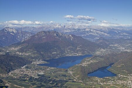 From the top of the Pizzo di Levico you can enjoy a magnificent view of the Valsugana with the Caldonazzo Lake and the Levico Lake Stock Photo