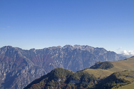 View from Monte Castelberto in the Lessin mountains east to the relatively unknown Caregagruppe, which is one of the vicentine alps