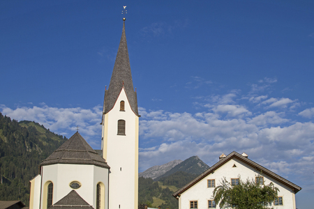 The parish church of Bichlbach is dedicated to St. Lawrence and was built in Baroque style