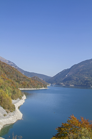 Molveno Lake - a picturesque mountain lake between the Brenta Group and the Paganella Mountains in Trentino