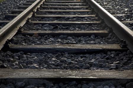 Formatfüllende Detailaufnahme eines Schienenstranges