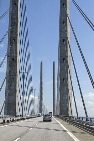 The Oeresund Bridge connects the Danish capital Copenhagen with Sweden Stock fotó